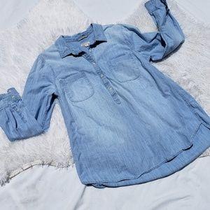 Merona Denim Shirt 1/2 Button Down XXL